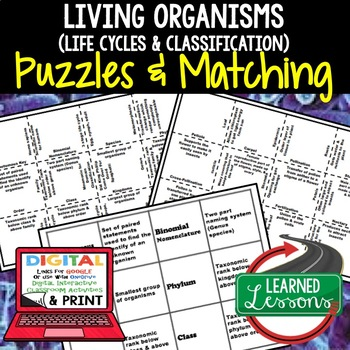 Life Cycles Classification Plants Flowers Puzzles Digital, Google Link, & Print