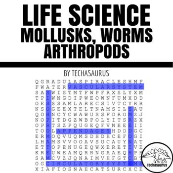 Life Science Word Search - Mollusks, Worms, Arthropods, Ec