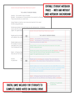 Genetics - Study of Heredity: Life Science Notes, PowerPoint and Test ~ EDITABLE