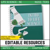 Intro to Life Science: Life Science PowerPoint, Notes and Test ~ EDITABLE!