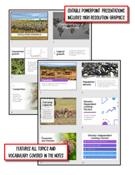 Population Dynamics: Life Science Notes, PowerPoint and Test ~ EDITABLE!