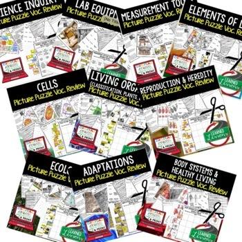 Life Science Picture Puzzle Study Guide Test Prep BUNDLE