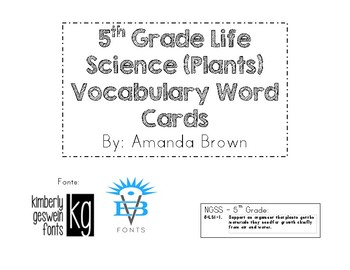 Life Science (Plants) Vocabulary Cards