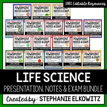 Life Science Powerpoints, Notes & Exams Bundle (Differenti
