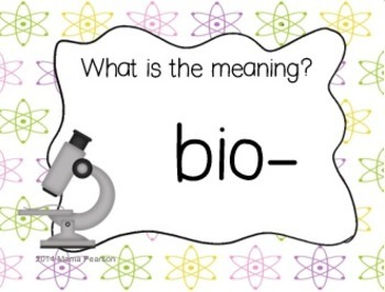 Life Science Prefixes and Suffixes Game