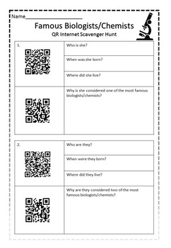 Life Science - QR CODE Famous Biologists/Chemists scavenger hunt!