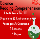 Life Science Reading Comprehension Passages | Organisms &