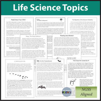 Life Science Reading Comprehension Passages and Questions