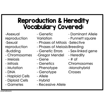 Life Science Reproduction and Heredity 28 I Have, Who Has Game Cards
