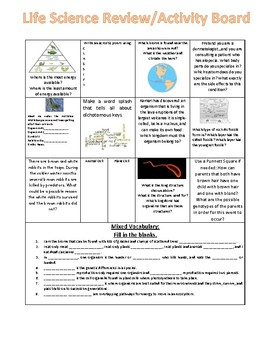 Life Science Review Activity Board