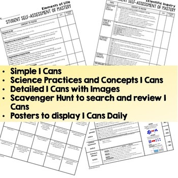 Life Science Student Self Assessment I Cans (55 pages)  (Life Science Bundle)