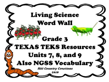 Life Science TEKS Science Grade Three World Wall for Life Science Units 7,8,9