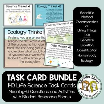 Life Science Biology Task Cards Bundle