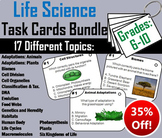 Life Science Task Cards Bundle: Biomes, Cells, Habitats, Animal Adaptations