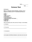 Life Science Test 5th grade