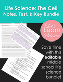 Life Science Lesson Pack: The Cell Test, Key, and Lecture Notes