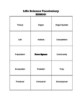 Life Science Vocab Bingo
