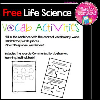 Life Science Grade 5 Vocabulary Activities