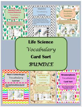 Life Science Vocabulary Card Sort BUNDLE