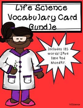 Life Science Vocabulary Cards Bundle