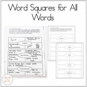 Life Science Vocabulary Cards and Worksheets