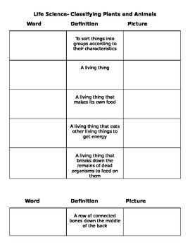 Life Science Vocabulary Classifying Animals and Plants Gra