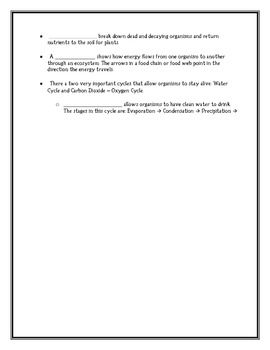 Life Science Vocabulary Learning Packet with Assessment (TEKS)