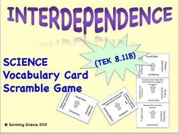 Life Science Vocabulary Scramble : INTERDEPENDENCE (TX TEKS 8.11B)