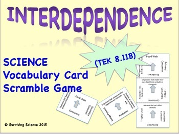 Life Science Vocabulary Scramble : INTERDEPENDENCE (TX TEK