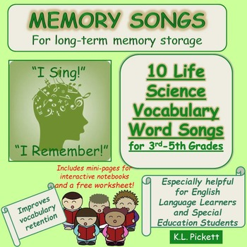 Life Science Vocabulary Word Songs for Third to Fifth Grades