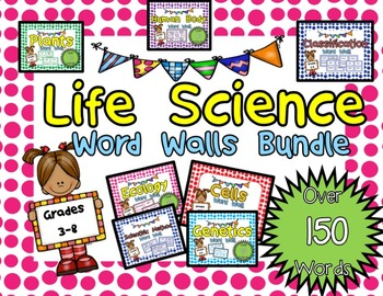 Life Science Vocabulary Words for Word Wall or Flash Cards