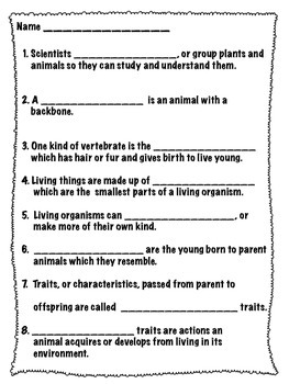 Life Science Vocabulary:Living Things
