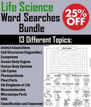 Life Science Word Searches: Ecosystems, Cells, Animal Adaptations Activities