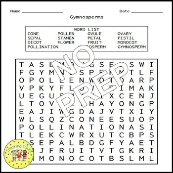Gymnosperms and Angiosperms Word Search