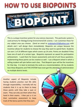 Life Science and Physical Science: Incentive Point System
