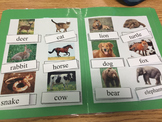 Life Skills: Animal Vocabulary (word to picture match) File Folder Game
