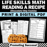 Reading a Recipe Cooking Life Skills Special Education and Autism Resources