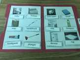 Life Skills: Bathroom Item Vocabulary (word to picture match) File Folder Game