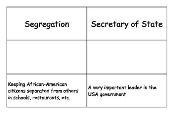 Special Education: Black History Picture and Vocabulary Match