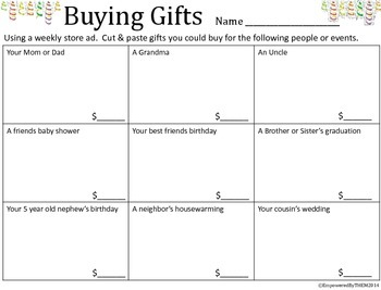 Life Skills - Buying Gifts Cut & Paste