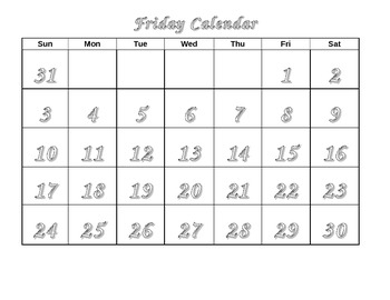 Life Skills Calendar - Friday color, trace, cut and paste