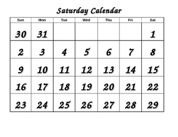Life Skills Calendar - Saturday color, trace, cut and paste