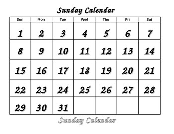 Life Skills Calendar - Sunday color, trace, cut and paste