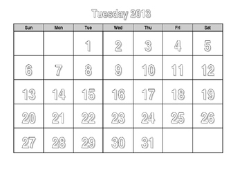Life Skills Calendar - Tuesday color, trace, cut and paste