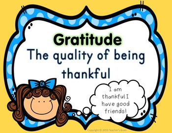 Life Skills Character Building Poster  GRATITUDE