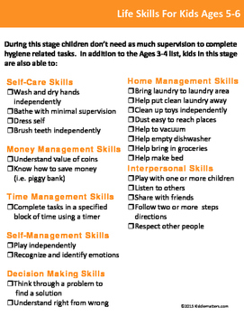 Life Skills Checklists For Kids and Teens