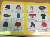 Life Skills: Clothing Vocabulary (word to picture match) File Folder Game