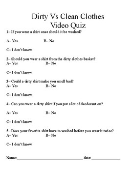 Life Skills Clothing Volume 4 Video Quiz Dirty Vs Clean Clothes