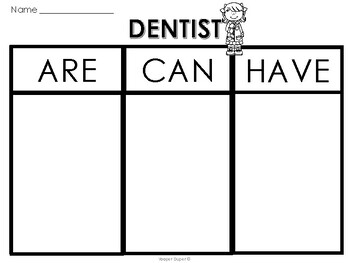 Life Skills Community Helper: Dentist (Are, Can, Have) Sort