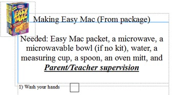 """Life Skills Cooking """"Easy Mac"""" from the package not the bowl set"""
